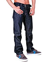 Aztec Mens Classic Belted Jeans Darkwash Lightwash Rinsewash