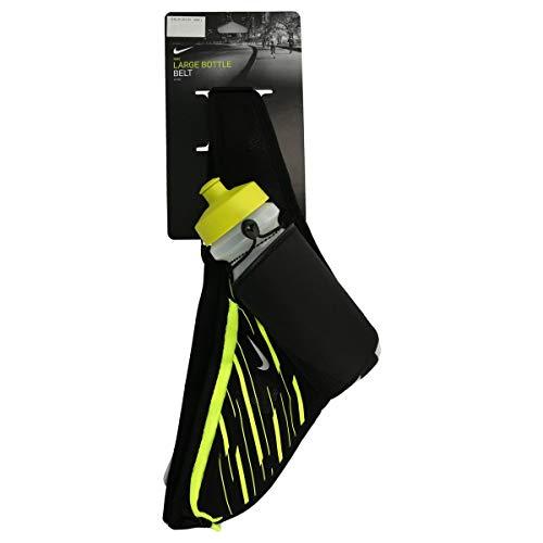 Nike Erwachsene L Bottle Belt 22 OZ/ 650 ml Trinkflasche Mit Gürtel, Black/Volt/Silver, One Size (Black Nike Belt)