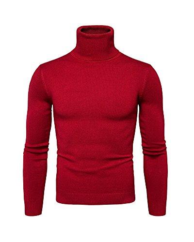 Maglione Uomo Ragazzo Maglioni Collo Alto Felpa Pullover Manica Lunga  Maglia Dolcevita Colore Unita Abbigliamento Basic b66a1a7ed907