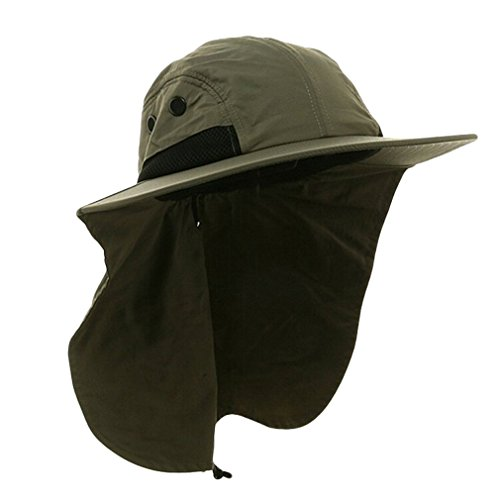 Antique Future T-Mall Herren breiter Rand Safari / Outback-Hut mit Nackenschutz (Olive)