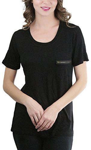 ToBeInStyle Women's Zipper Pocket Scoop Neck S.S. Tee - Black - Large