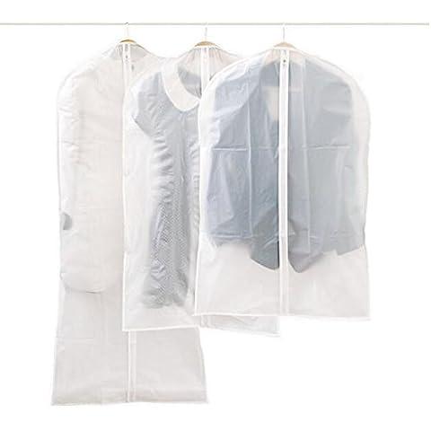 luzuzi lavabile trasparente Suit Dress Abbigliamento, sacchetti per abiti con zip lunga PEVA ecologico per famiglia (Set di 5) lucky258
