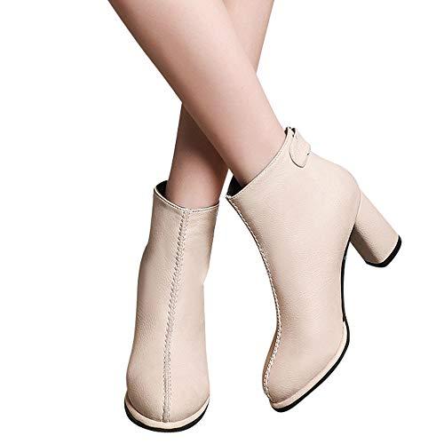 OSYARD Damen Chelsea Boots Kunstleder Ankle Stiefeletten mit Blockabsatz Profilsohle Flandell, Leder Runde Kappe Einfarbig Stiefel Ankle High Heels Reißverschluss Martin Schuhe