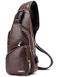 DIYARTS Bolso Cuero Sling Vintage PU Impermeable Pecho Bolsa Hombres Casual Multipropósito Paquete Crossbody Con Puerto Carga USB Para Ciclismo Senderismo Negocios Aire Libre