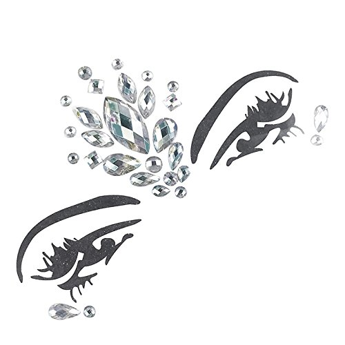 (Face Gems Strass Tattoo, Festival Jewels Augen Gesicht Stirn temporäre Tattoos Rave Glitzer Bindi Kristalle Rainbow Tränen Aufkleber Type Ten (2# White))