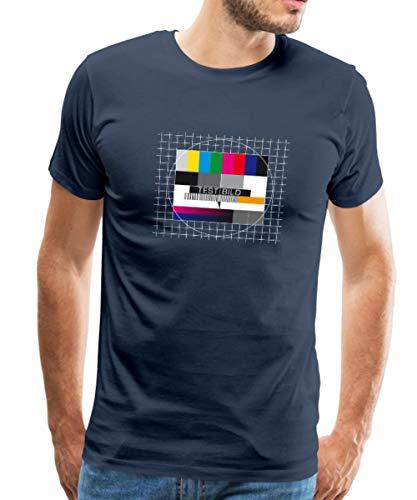 Spreadshirt TV Testbild Fernseher Retro Männer Premium T-Shirt, XXL, Navy 5dd0d37967