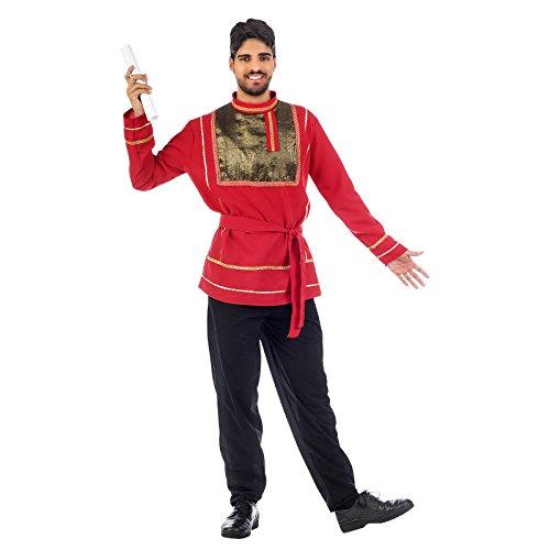 Russischer Prinz Folklore Kostüm Herren für Russen Disco Mottoparty und Karneval rot schwarz - XL