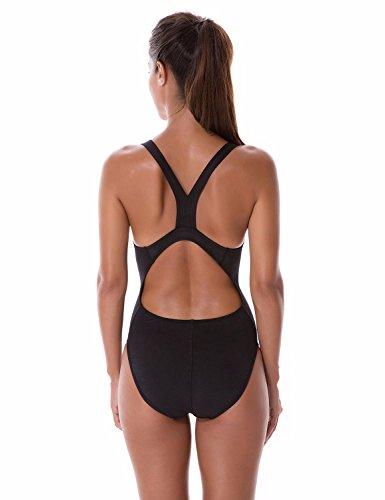 SYROKAN Damen Einteiler Sports Badeanzug - Essential Endurance Bademode Schwarz 38 inch