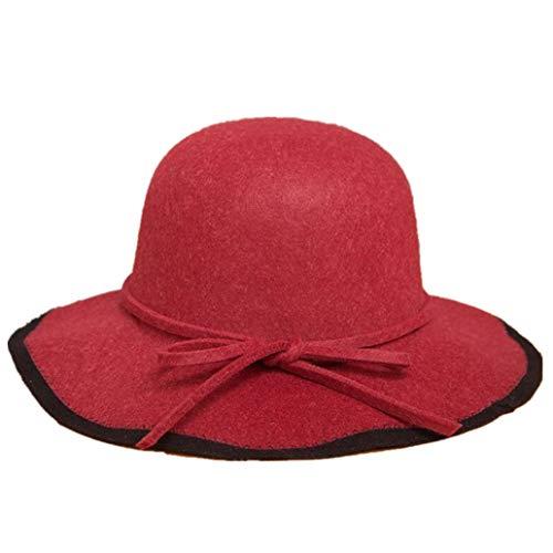 GOUNURE Woolen Wide Brim Fedora Hats für Frauen Klassische Vintage Trilby Hat Jazz Cap Sonnenhut Runde Caps -