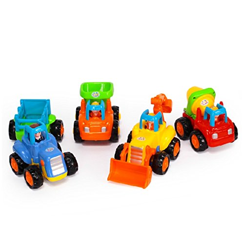 Early Educational Toddler Baby Toy Push and Go Friction Powered Car Toys Sets of 4 Tractor Bulldozer Mixer Truck and Dumper for Children Kids Boys and Girls 18 Month Old to 3 Year Old