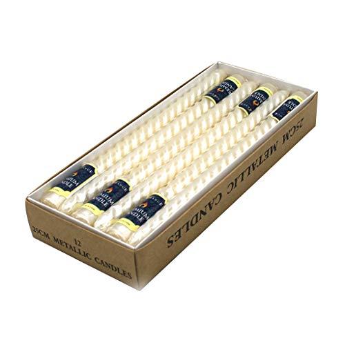 SHUXIN 12 Stück handgefertigte Spitzkerzen - Lange gedrehte rauchfreie Tisch-Paraffin-Kerzen Wachs grün/rot/Gold/Silber/pink/Kupfer/weiß/elfenbeinfarben/gelb/violett Lw