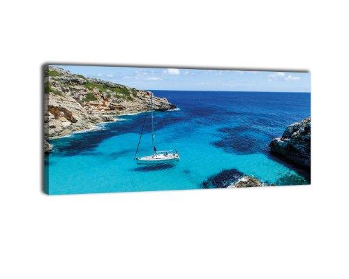 Leinwandbild Panorama Nr. 396 Sailing 100x40cm, Keilrahmenbild, Bild auf Leinwand, Bucht Cala Marmols Mallorca