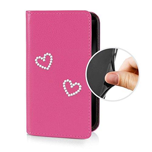 Für Apple iPhone --- 6s-Plus --- eSPee Hülle Schutzhülle Wallet Flip Case Cremeweiss mit Strass Herz UNZERBRECHLICHER Silikon Schale / Bumper und Magnetverschluss Pink