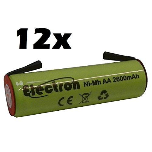 12x Batteria ricaricabile Ni-Mh Stilo AA 1,2V 2600mAh con linguette lamelle terminali a saldare per pacco pacchi batteria