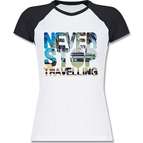 Statement Shirts - Never Stop Travelling Meer Palmen - zweifarbiges  Baseballshirt / Raglan T-Shirt