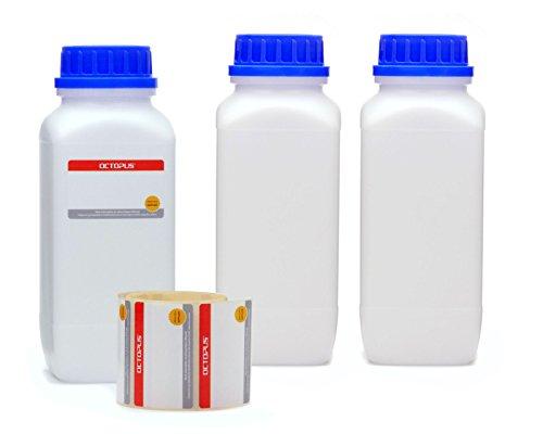 Octopus 3X 1000 ml Weithals-Flaschen mit Schraubverschluß, Chemiekalienflaschen, Laborflaschen mit Deckel ALS Aufbewahrungsbehälter für Labor, Küche oder Hobby