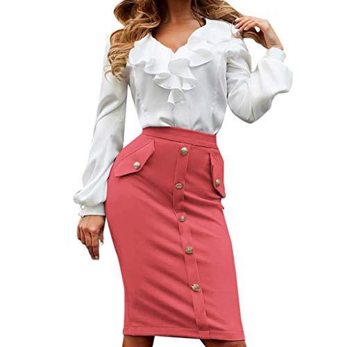 Hard Rock Cafe Pullover Bleistift-Clubrock für Damen mit hohem Bund, anliegender Knopfrock Slip Rock Kleid Dirndl