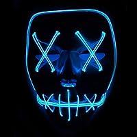 Xdffy Halloween Máscara LED Ligero Gracioso Máscaras Estupendo Festival Cosplay Disfraz Suministros Fiesta Máscaras Brillan en la Oscuridad (Azul)