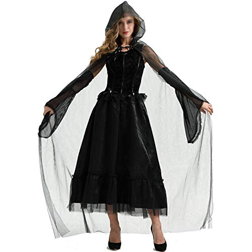 YCLOTH Halloween Kostüm, Umhang mit Kapuze in voller Länge Halloween Christmas Fancy Cape Kostüme, Abend Party Weird Atmosphere Clothing-Black-M