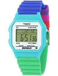 Timex - T2N271 - T80 Classic - Montre Mixte - Quartz Digital - Cadran Blanc - Bracelet Résine Bleu