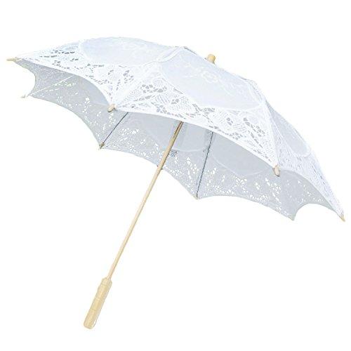 Gosear Plegable Sombrillas Encaje de Flores Chicas de Boda Nupcial de Partido de Sol Paraguas Decoracion de la boda apoyos (Blanco)
