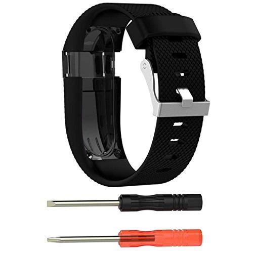 squarex Ersatz-Armband aus Silikon und Displayschutzfolie für Fitbit Charge HR, Damen, Schwarz, AS Show