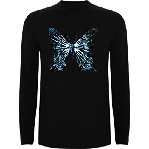 Camiseta Manga Larga de Fringe Terror Divertida Friki Animal Mariposa Azul Hombre 2XL Negro