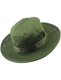 MagiDeal Men Women Fashionable Outdoor Hiking Camping Hunting Hat Cap Wide Brim Fishing Hat Sun Hat Cap Army Green