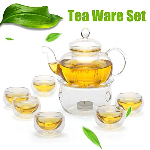 Infinitely Great Home Decor Center 600 ml hitzebeständiges, Elegantes Teekanne aus Glas mit Teekanne und Stövchen und 6 Teetassen - weiß (Elegant Home Decor)