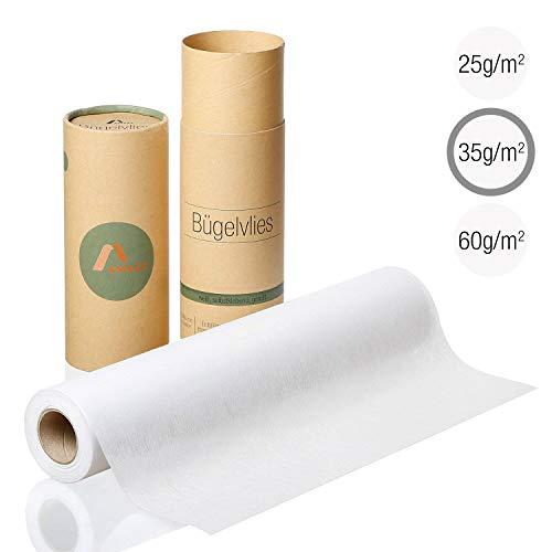 Amazy Entoilage thermocollant pour Tissus légers à Moyen (Blanc   35g/m2) - Toile thermocollante pour renforcer des vêtements, couvertures et Coussins, Appliques et Patchwork