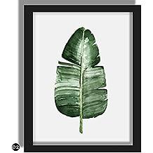 rungao grün Pflanzen Leinwand Kunstdruck Poster Green Leaf Leinwand Gemälde Wandbilder Home Decor, Color02#, 40*50cm