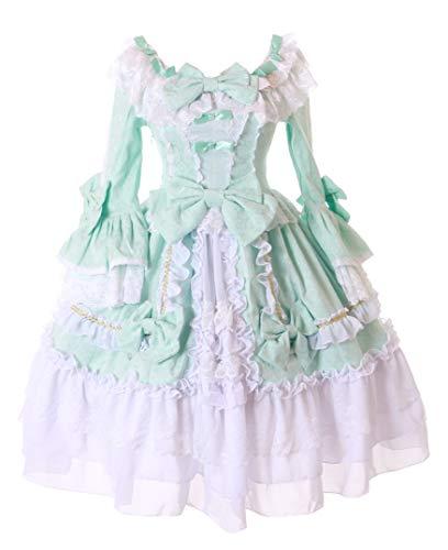 Kawaii-Story JL-676 Edel Mint-Grün Weiß Rüschen Schleife Kleid Barock Victorian Spitze Classic Gothic Lolita Kostüm Cosplay (Barock Kleid Kostüm)
