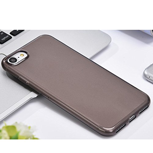 Linyuan Bonne qualité 5.5-inch Fashion Cover Transparent Soft Silicone Protective Case Cover for iPhone 7 Plus Gray