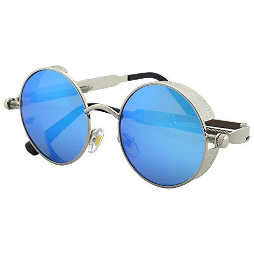 CGID Retro Sonnenbrille im Steampunk Stil, runder Metallrahmen, polarisiert, für Männer, (Kostüm Sonnenbrille Lennon John)