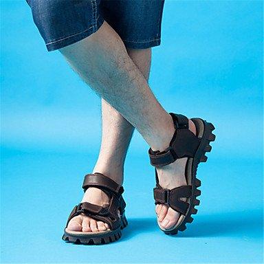 Los hombres sandalias de cuero verano Casual talón plano otros gris marrón caminando US8.5-9 / EU41 / UK7.5-8 / CN42