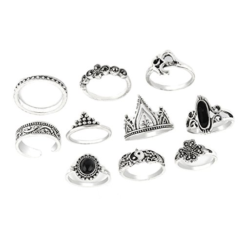 Knuckle Ring Set Boho Kristall Stein Offener Ring (Silber)