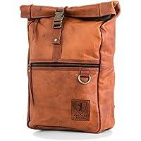 Berliner Bags Roll Top Rucksack aus Leder Wasserdicht Unisex Vintage Retro Braun