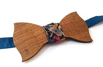 papillon in legno con nodo in tessuto blu petrolio e