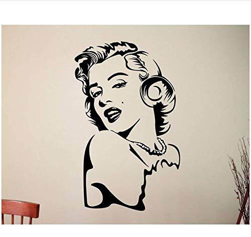 Schöne Wandaufkleber Hollywood Schauspielerin Frau Gesicht Vinyl Künstler Innen Wohnzimmer Schlafzimmer Dekoration 42x68cm