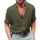 PAOLIAN Herren Casual Langarm Leinenhemd Henley Shirt Daily Look Langarmshirt Leinenhemden Shirt Oberteile