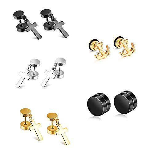 Alirnny 5 Paar Titan Stahl Trend Kreuz Ohrringe hängen geometrische Schmuck Unisex Klassische Hipster Mode Punk Rock Ohrringe gesetzt,5pairs