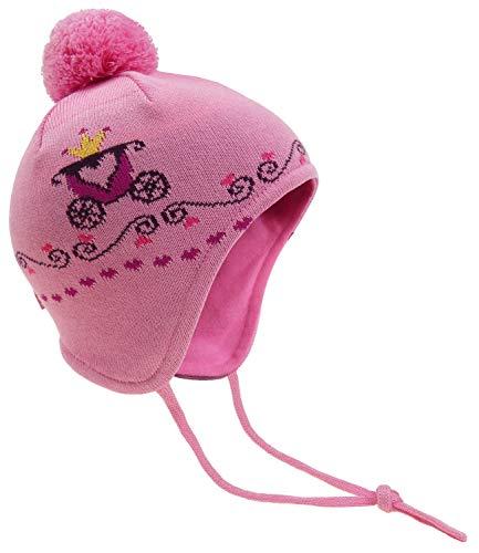 EveryKid Fiebig Babybindemütze Mädchenmütze Bindemütze Strickmütze Markenmütze Pudelmütze Winter Baumwollfutter Baby (MX-84571-359800-W18-BM0-6426-47) in Rosebloom Größe 47 inkl Fashionguide