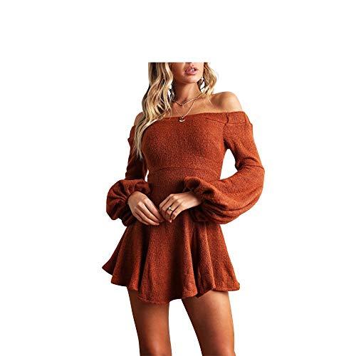 er Frauen Boot Nack Kleid große untere Saum Kleid für Mädchen (Farbe : Orange, Größe : M) ()