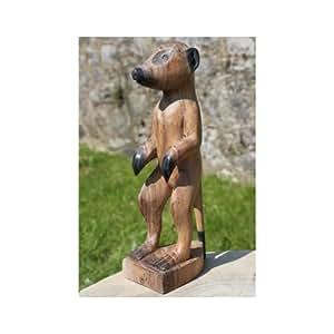 En bois naturel issu du commerce équitable Motif suricates Statue | 25cm
