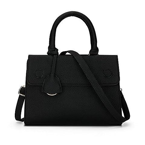 Sotica Women Fashion PU Leather Shoulder Bags Top-Handle Handbag Tote Bag (black)
