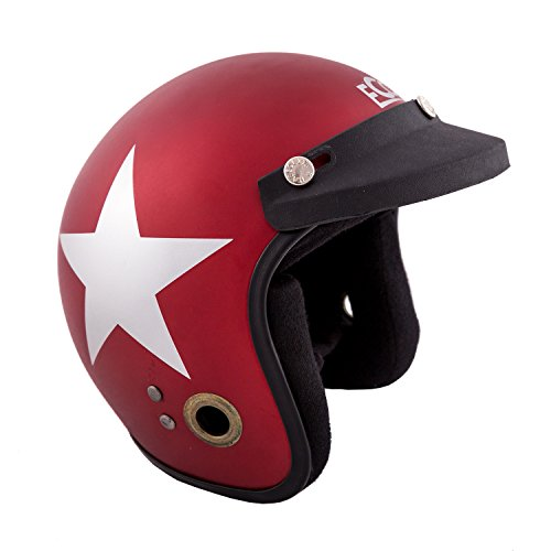 Autofy Habsolite Ecco Star Open Face Helmet (Red and Grey, M)