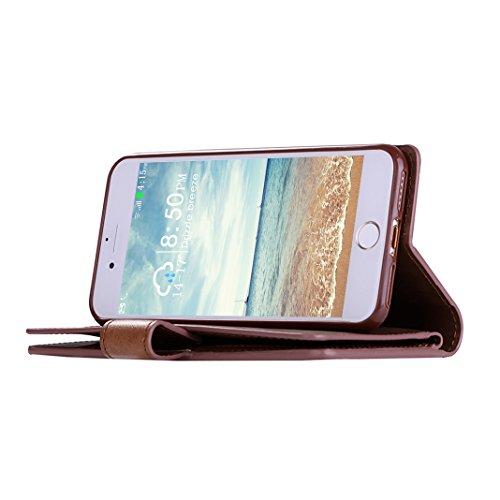 iPhone 6/6S Plus Custodia a portafoglio con 9 porta carte di credito, Moon mood® Libro Cuover Protettiva per Apple iPhone 6/6S Plus 5.5 pollice Leather Wallet Case Shell Cover con Stand Supporto integ Marrone