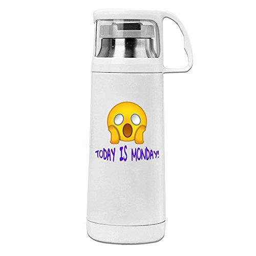 kuum Isolierte Reise Tasse niedliche Emoji-heute ist MONTAG. behandelt Getränk Flasche Weiß 14oz/350ml (Oregon-duck-aufkleber)