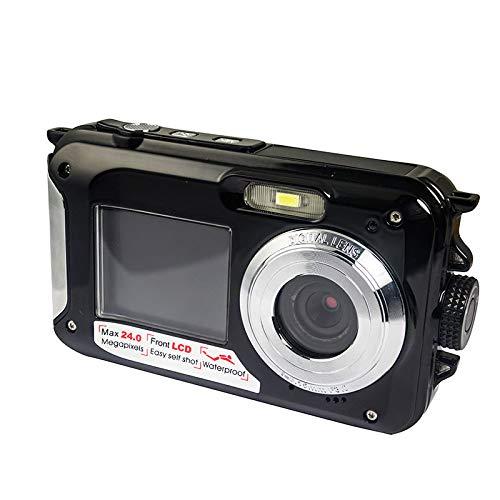 LDJC Digitale Sportkamera, wasserdichte Bare-Metal-Kamera, 5-Megapixel-HD-Doppelbildschirm mit 2,7 Zoll, 1,8-Zoll-4-fach-Zoom, integrierter Blitz, geeignet für Kinder beim Schwimmen und Tauchen,Black Black-metal-kamera