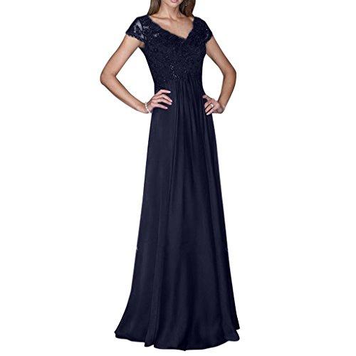 Charmant Damen Spitze Kurzarm V-ausschnitt Abendkleider Ballkleider Abschlussballkleider Lang A-linie Neuheit Navy Blau